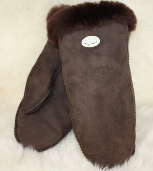 Womens Sheepskin Mitts - Chocolate