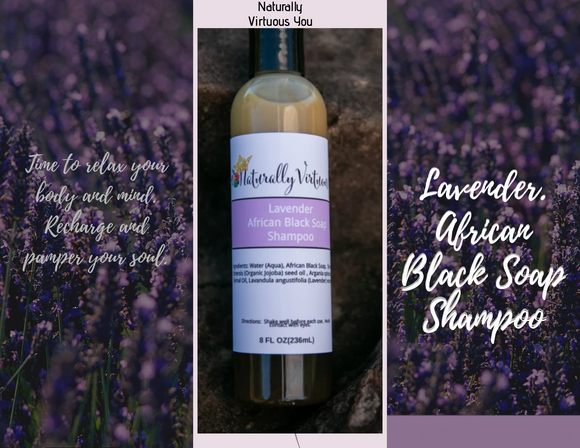 A picture of Lavender African Black Soap Shampoo on a rock. The shampoo is surrounded by lavender fields.