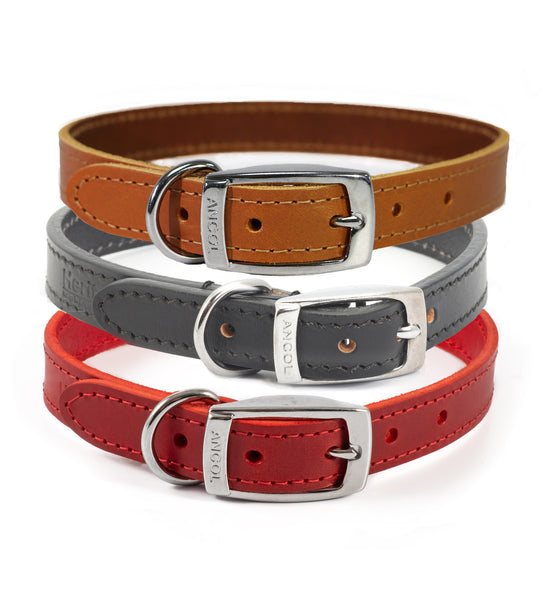 Ancol UK Made Heritage Classic 100% Genuine Leather Dog Collar 7 sizes 3 colours