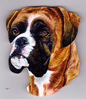 Boxer Dog Fridge Magnet made from FSC Forest Friendly Wood Brindle, Red, Head
