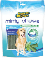 MUNCH CRUNCH MINTY CHEW STICKS DOG TREATS FRESH BREATH ANTI TARTAR 1,2,4 X 250gm