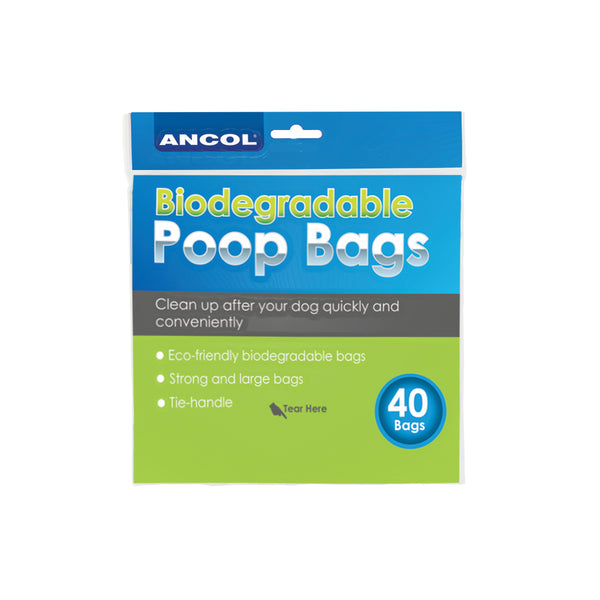 80 Ancol Dog Biodegradable Tie Handle Large strong Poop poo bags Eco friendly