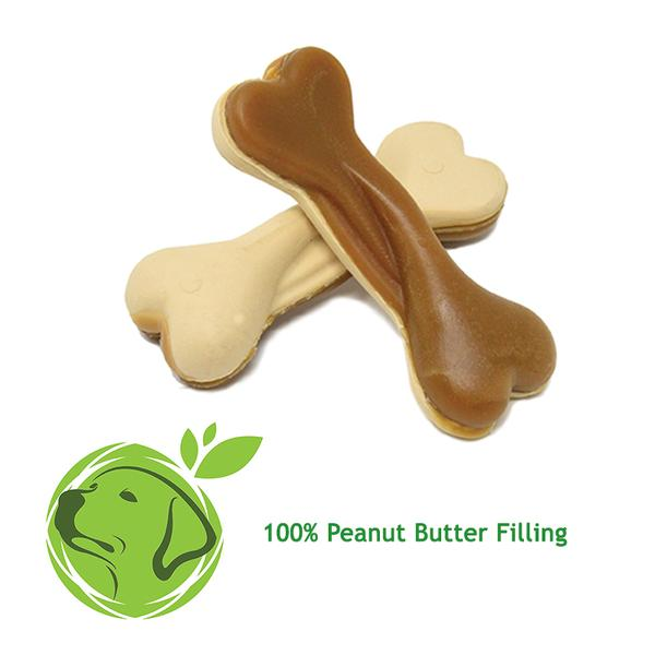 Vegan Dual-Sided Peanut Butter Bones Xylitol free  Pack of 6