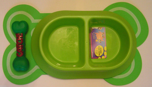 Twin Feeding Water bowl Bone Shaped Mat Set Squeaky Bone Double Diner