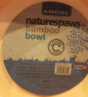 2 X Ancol 17cm naturespaws bamboo dog bowls 900ml eco friendly recyclable