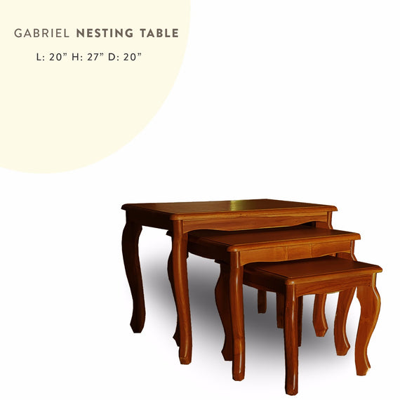 Gabriel Nesting Table, Gabriel nesting table on wooden floor