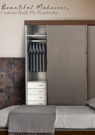 Plywood wardrobe sliding grey , Plywood wardrobe sliding grey ensemble
