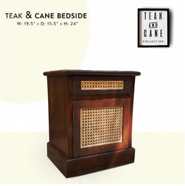 Teak and cane bedside