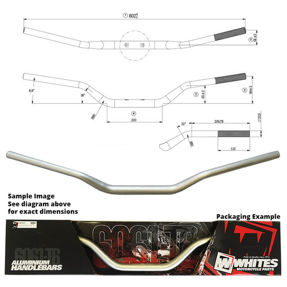 WHITES HANDLEBARS ALLOY6061 TAPER 1 1/8 (28.6MM) CRF/KXF SIL