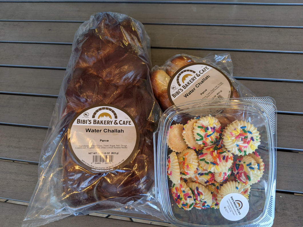 Small Water challah Shabbundle  (1 large, 1 kiddush pack + cookies)
