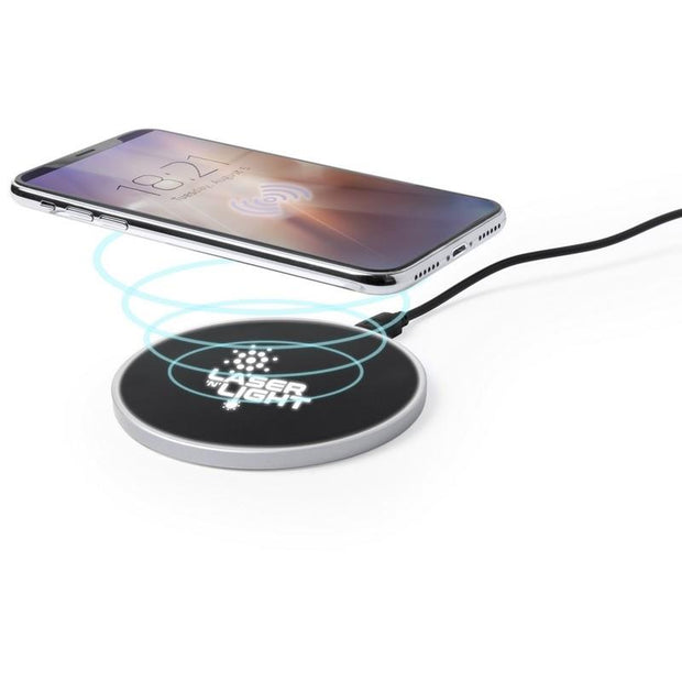 Personalised induction charger with illuminated engraving