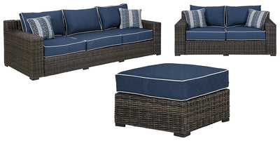 Grasson Lane Signature Design By Ashley 3-Piece Outdoor Sofa and Loveseat with Ottoman