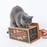 Interactive cardboard cat punch