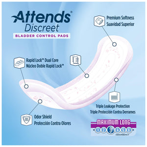 Bladder Control Pad Attends® Discreet 14-1/2 Inch Length Moderate Absorbency Polymer Core One Size Fits Most Adult Female Disposable