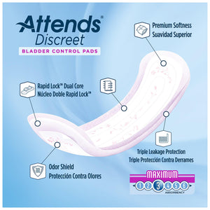 Bladder Control Pad Attends® Discreet 13 Inch Length Moderate Absorbency Polymer Core One Size Fits Most Adult Female Disposable