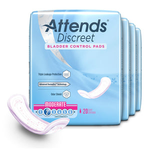 Bladder Control Pad Attends® Discreet 10-1/2 Inch Length Moderate Absorbency Polymer Core One Size Fits Most Adult Female Disposable