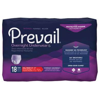 Female Adult Absorbent Underwear Prevail® Women's Overnight Pull On with Tear Away Seams Small / Medium Disposable Heavy Absorbency