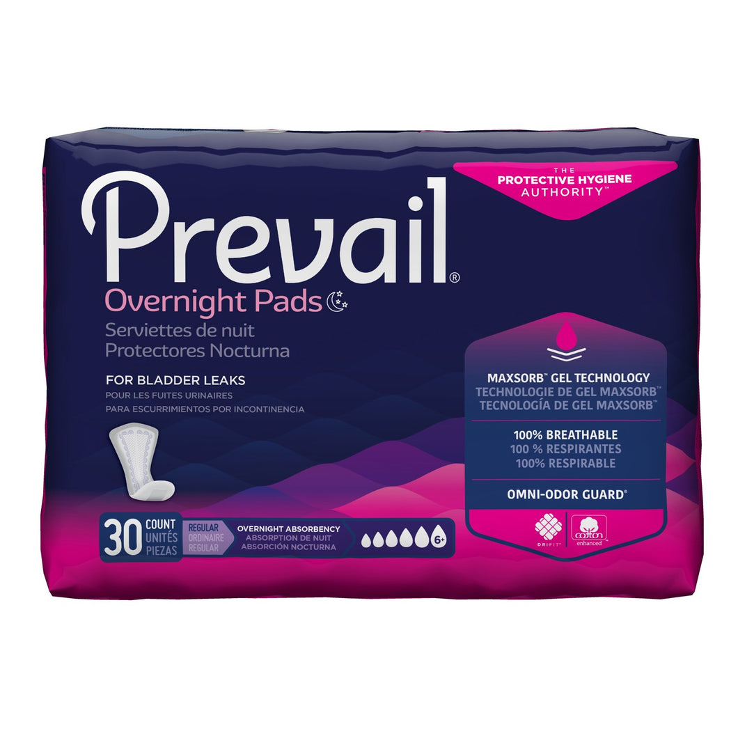 Bladder Control Pad Prevail® Daily Pads Overnight 16 Inch Length Heavy Absorbency Polymer Core One Size Fits Most Adult Female Disposable