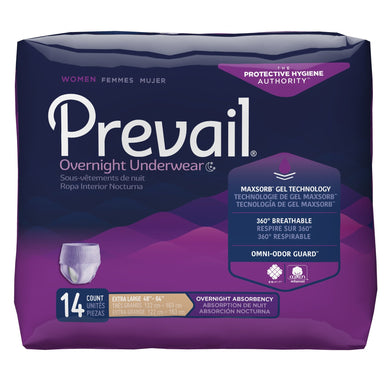 Female Adult Absorbent Underwear Prevail® Women's Overnight Pull On with Tear Away Seams X-Large Disposable Heavy Absorbency