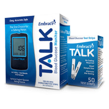 Load image into Gallery viewer, Blood Glucose Test Strips Embrace® 50 Strips per Box Talking For Embrace® Blood Glucose System