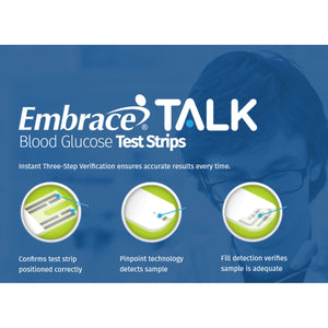 Blood Glucose Test Strips Embrace® 50 Strips per Box Talking For Embrace® Blood Glucose System