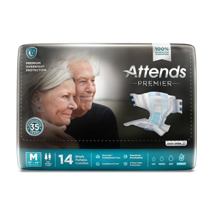 Unisex Adult Incontinence Brief Attends® Premier Medium Disposable Heavy Absorbency