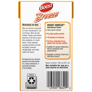 Oral Supplement Boost® Breeze® Orange Flavor Ready to Use 8 oz. Carton