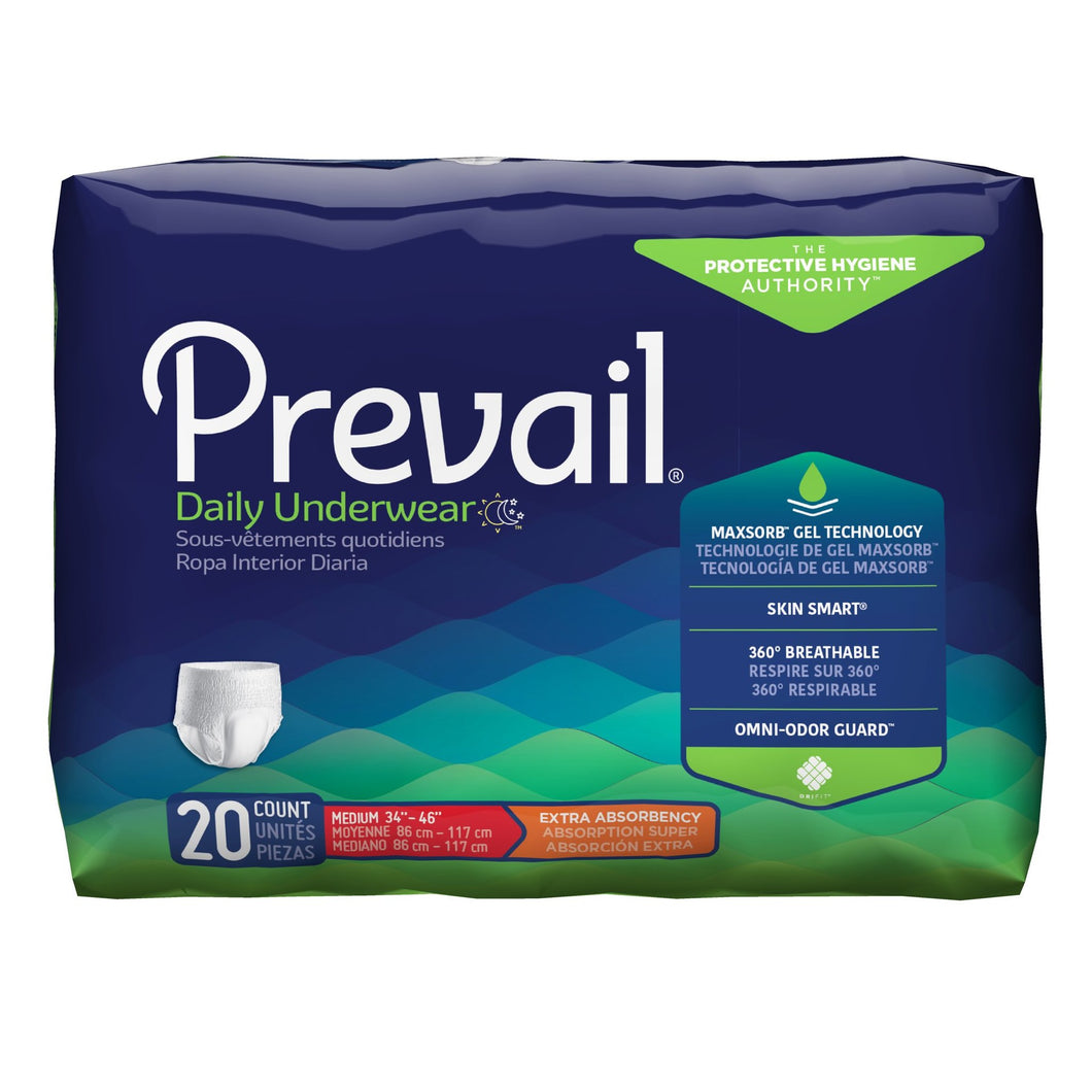 Unisex Adult Absorbent Underwear Prevail® Daily Underwear Pull On with Tear Away Seams Medium Disposable Moderate Absorbency