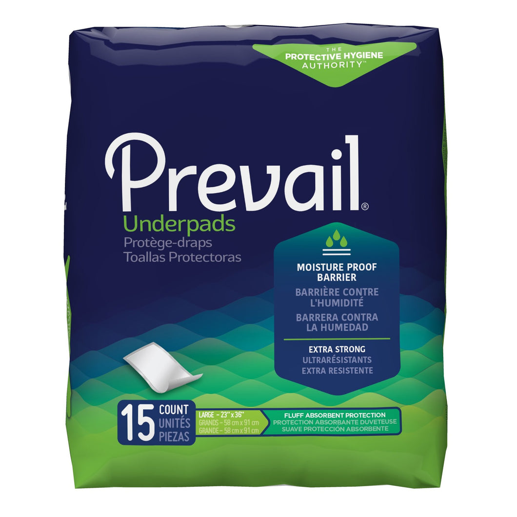 Underpad Prevail® 23 X 36 Inch Disposable Fluff Light Absorbency