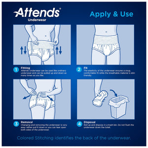 Unisex Adult Absorbent Underwear Attends® Pull On with Tear Away Seams Medium Disposable Moderate Absorbency