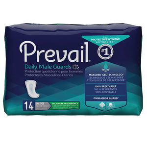 Bladder Control Pad Prevail® Daily Male Guards 12-1/2 Inch Length Heavy Absorbency Polymer Core One Size Fits Most Adult Male Disposable