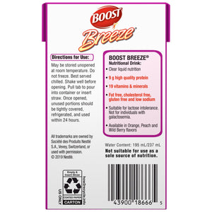 Oral Supplement Boost® Breeze® Wild Berry Flavor Ready to Use 8 oz. Carton