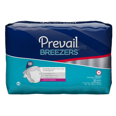 Unisex Adult Incontinence Brief Prevail® Breezers® Medium Disposable Heavy Absorbency