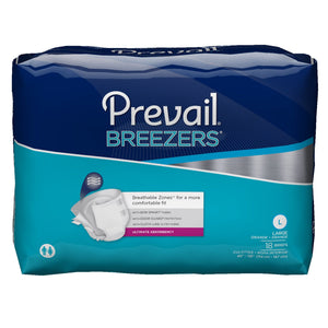 Unisex Adult Incontinence Brief Prevail® Breezers® Large Disposable Heavy Absorbency