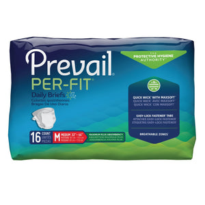 Unisex Adult Incontinence Brief Prevail® Per-Fit® Medium Disposable Heavy Absorbency