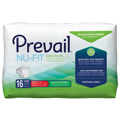 Unisex Adult Incontinence Brief Prevail® Nu-Fit® Medium Disposable Heavy Absorbency