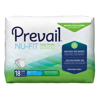 Unisex Adult Incontinence Brief Prevail® Nu-Fit® Large Disposable Heavy Absorbency