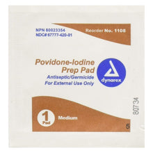 Load image into Gallery viewer,  PVP Prep Pad Dynarex® 10% Strength Povidone-Iodine Individual Packet Medium NonSterile