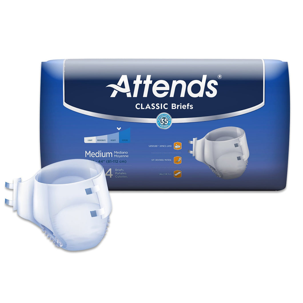 Unisex Adult Incontinence Brief Attends® Classic Medium Disposable Heavy Absorbency