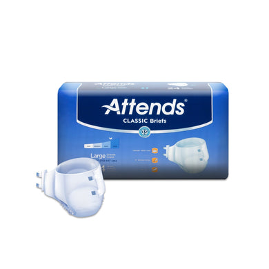 Unisex Adult Incontinence Brief Attends® Classic Large Disposable Heavy Absorbency