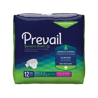 Unisex Adult Incontinence Brief Prevail® Bariatric Size A Disposable Heavy Absorbency