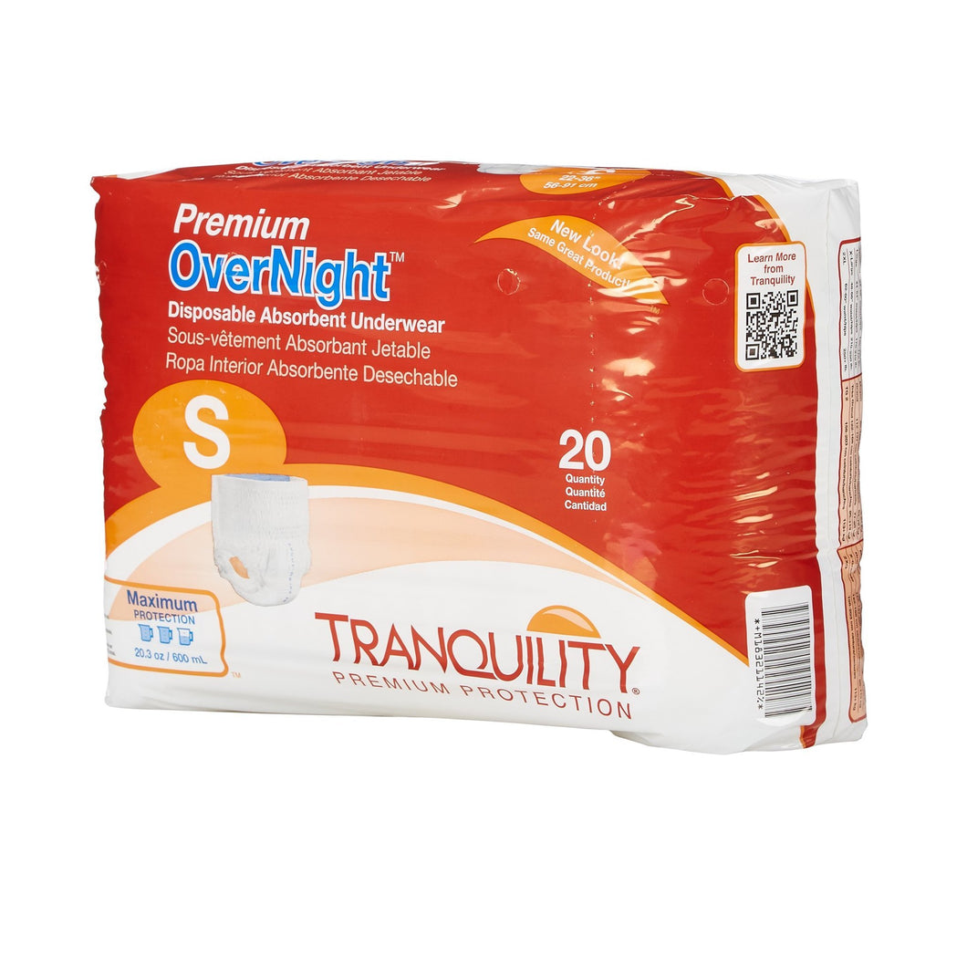 Unisex Adult Absorbent Underwear Tranquility® Premium OverNight™ Pull On with Tear Away Seams Small Disposable Heavy Absorbency