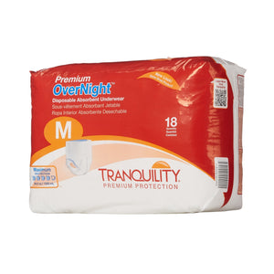Unisex Adult Absorbent Underwear Tranquility® Premium OverNight™ Pull On with Tear Away Seams Medium Disposable Heavy Absorbency