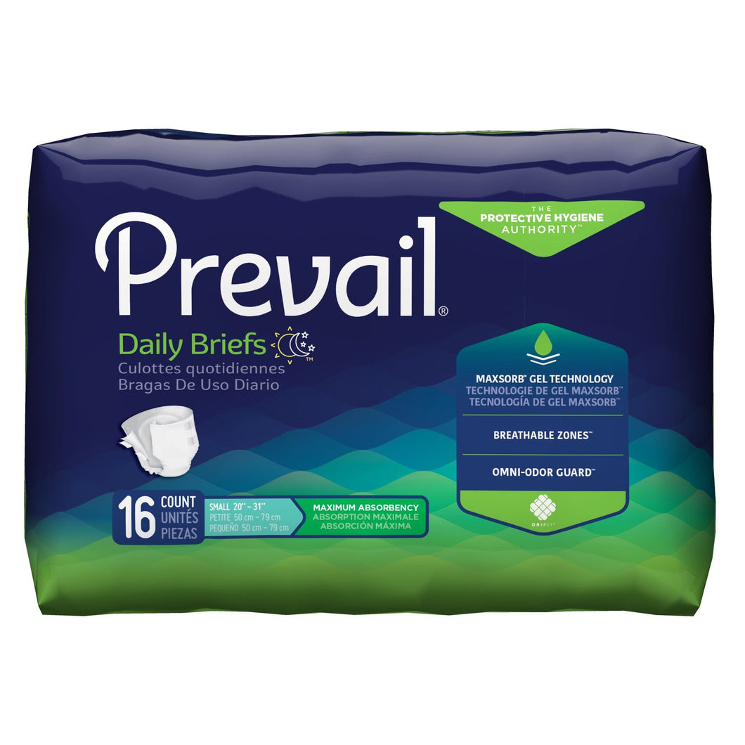 Unisex Adult Incontinence Brief Prevail® Small Disposable Heavy Absorbency