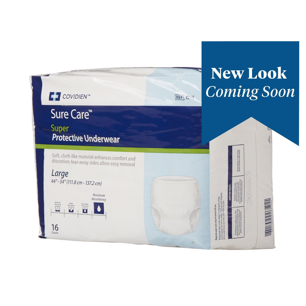 Unisex Adult Absorbent Underwear Sure Care™ Pull On with Tear Away Seams Large Disposable Heavy Absorbency