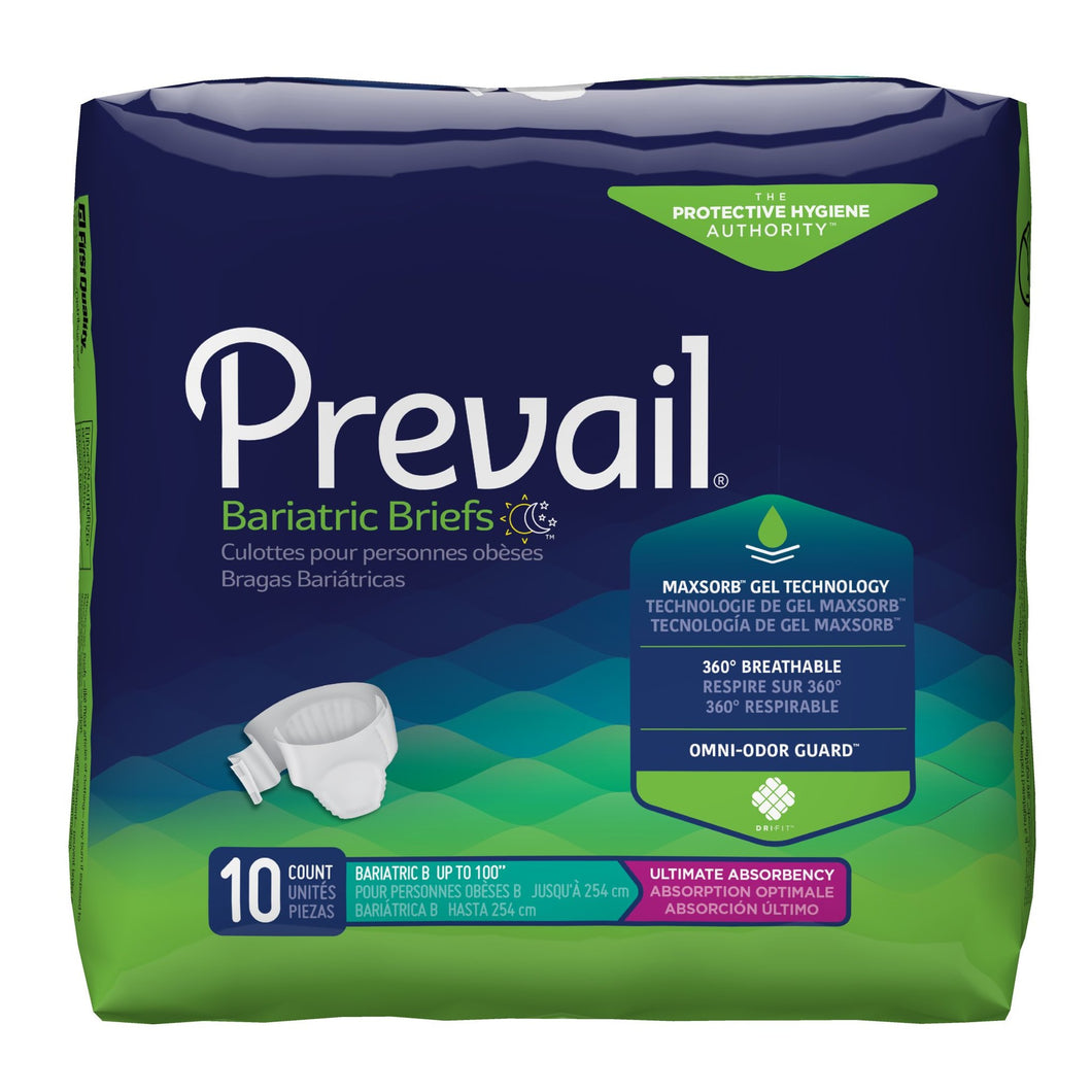 Unisex Adult Incontinence Brief Prevail® Bariatric Size B Disposable Heavy Absorbency