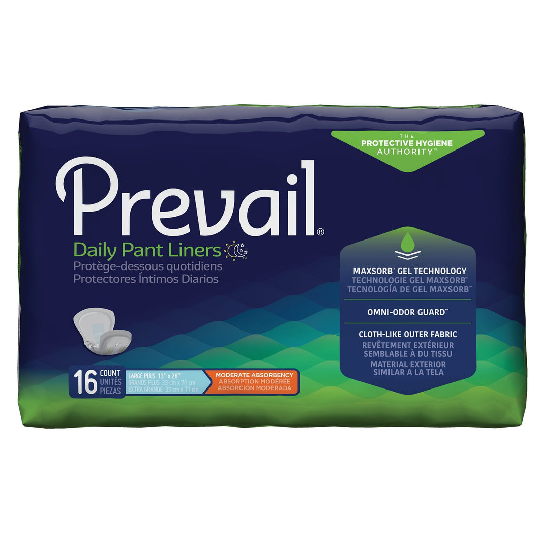 Bladder Control Pad Prevail® Daily Pant Liners 28 Inch Length Moderate Absorbency Polymer Core Large Plus Adult Unisex Disposable