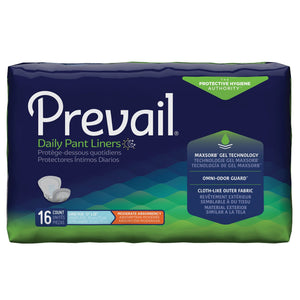 Bladder Control Pad Prevail® Daily Pant Liners 28 Inch Length Heavy Absorbency Polymer Core One Size Fits Most Adult Unisex Disposable