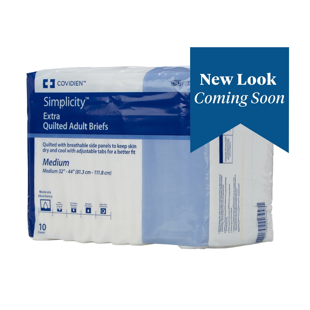 Unisex Adult Incontinence Brief Simplicity™ Medium Disposable Moderate Absorbency