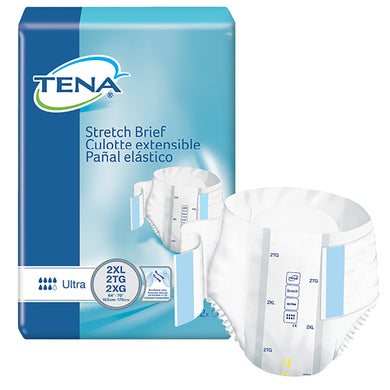 Unisex Adult Incontinence Brief TENA® Stretch™ Ultra 2X-Large Disposable Moderate Absorbency